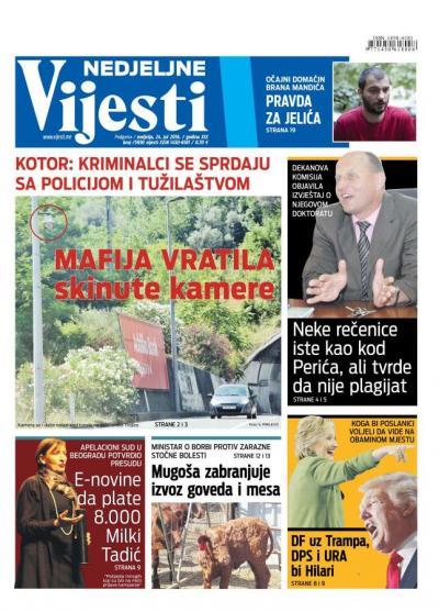 Pregled dnevne štampe – Vijesti – 24.07.2016.